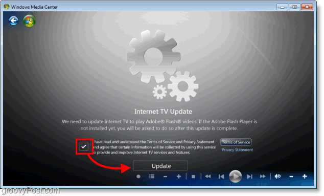 Windows 7 Media Center - install internet tv update