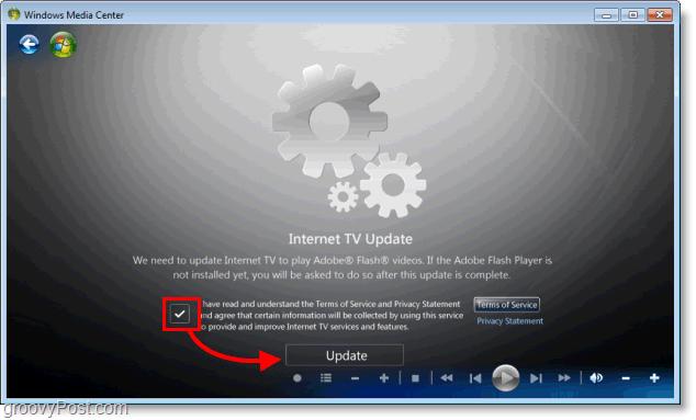 Windows 7 Media Center - install internet tv update