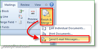 Outlook 2010 screenshot -finish and merge and send email messages
