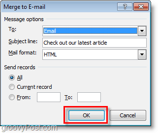 confirm and click ok to send mass email of personalized emails