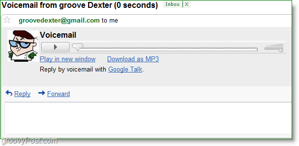 Google Talk screenshot - listen to voicemail from your gmail inbox