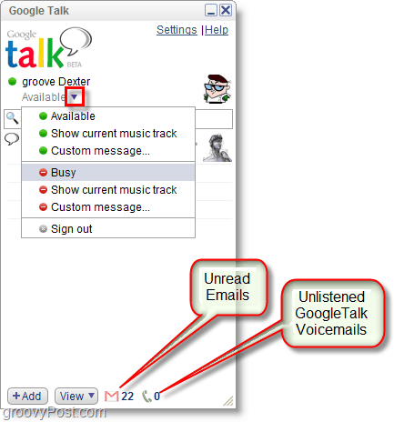 Google Talk screenshot -change status and view unread email