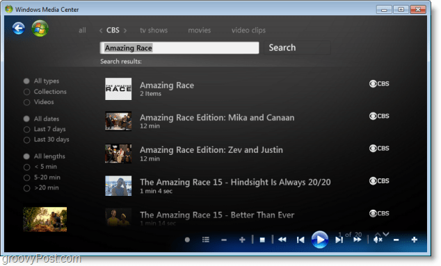 Windows 7 Media Center - how to serach for your favorite shows