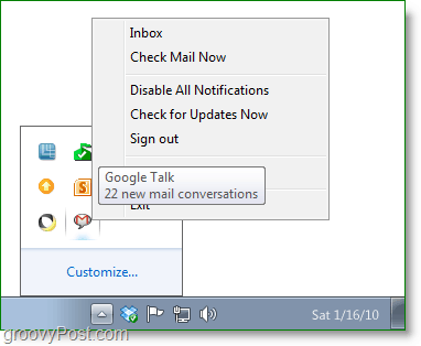 Google Talk screenshot -system tray icon