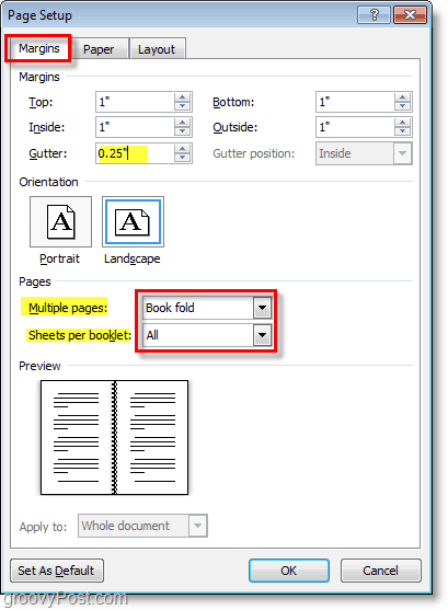 use the word 2010 page setup to change the layout settings to get ready to make a booklet