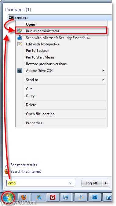 Windows 7 screenshot- starting cmd as an administrator