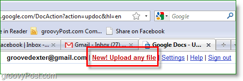 Google Docs screenshot - upload any file