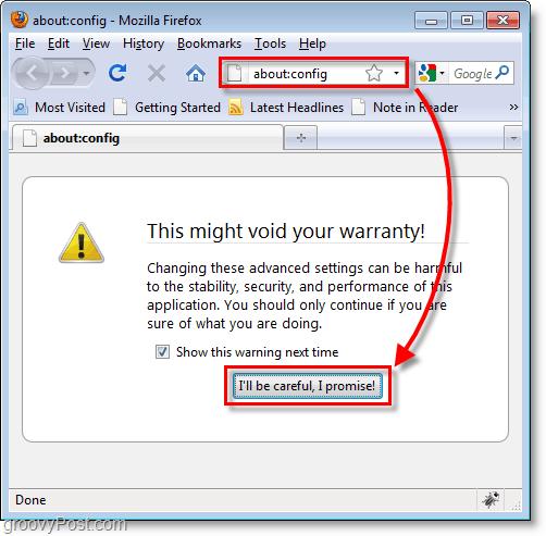 Firefox screenshot - how to enter the config changing menu