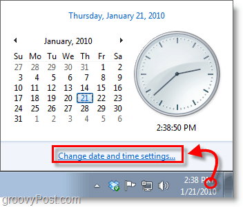 Windows 7 screenshot - click the clock and change settings