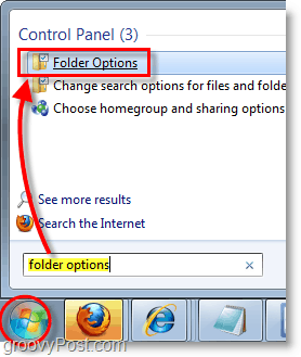 Windows 7 screenshot - open folder options