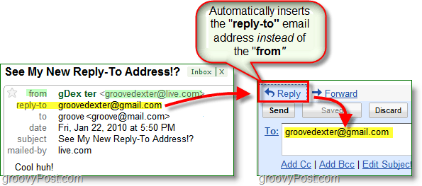 when you set up a reply-to email address it sends all replies to your alternative address