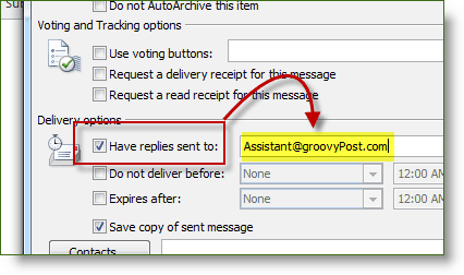 Check Reply-To Check Box in Microsoft Office 2010