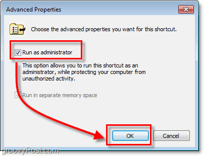 the advanced properties window to run as administrator for windows 7 shortcuts