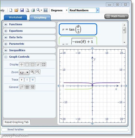 Microsoft Word Add-in Microsoft Math screenshot using 2d graphs