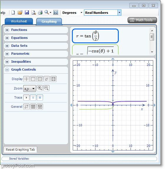 Microsoft Word Add-in Microsoft Math screenshot using 2d graphs