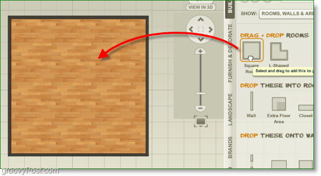 project dragonfly screenshot - drag and drop items like floors to the workspace