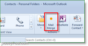 Outlook 2010 screenshot - click mail merge