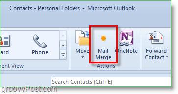 Outlook 2010 screenshot - click mail merge