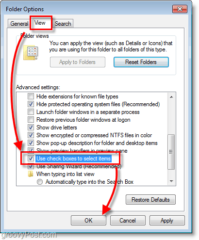 Windows 7 screenshot - folder options view and check boxes to select items