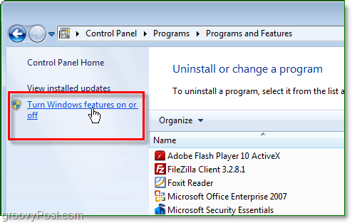 click turn windows features on or off from the windows 7 programs and features window