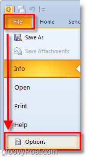 in outlook 2010 use the file ribbon to open up options