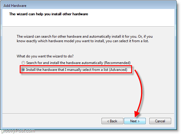 Windows 7 Networking Screenshot - click the install the hardware that I manually select forma list (Advanced)