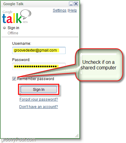 Google Talk screenshot -sign in
