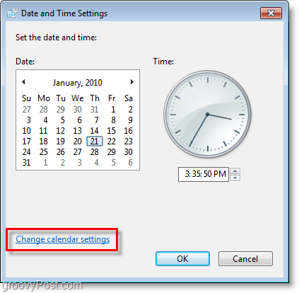 Windows 7 screenshot - change the calendar settings