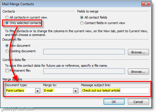 Outlook 2010 screenshot -make sure options are correct under mail merge contacts