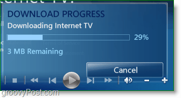 Windows 7 Media Center - wait for it to finish downloading