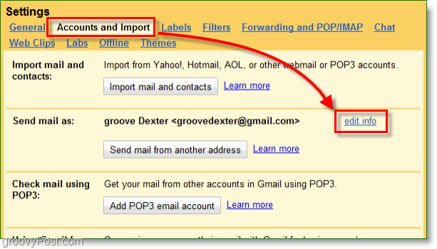 click your google mail accounts and import button and then edit info