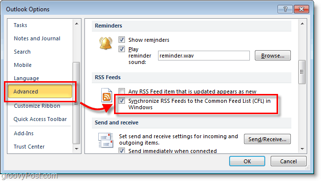 in the outlook 2010 options window scroll down to advanced then click Syncrhonize RSS feeds checkbox button under RSS feeds