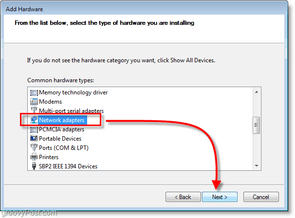 Windows 7 Networking Screenshot  - select network adapters