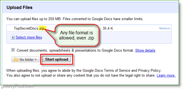 Google Docs screenshot - uploaded a zip