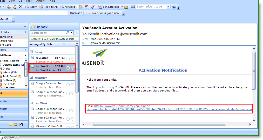 YouSendIt Activation Link in Outlook