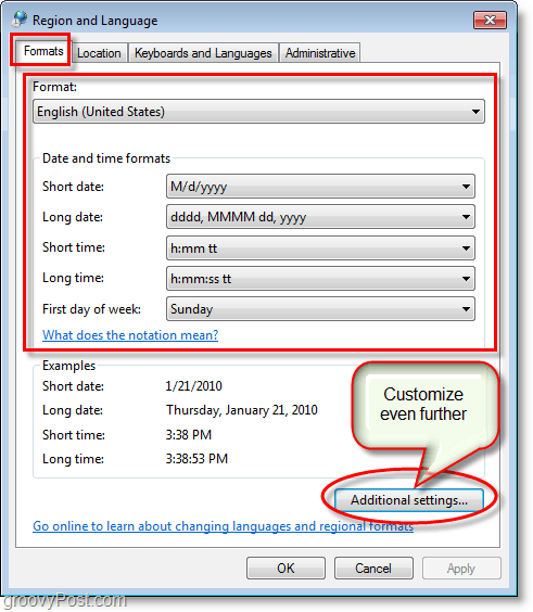 Windows 7 screenshot change the region and language formats settings