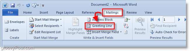Outlook 2010 screenshot - click greeting line under mailings