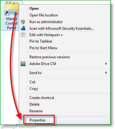 Windows 7 screenshot - right click the shortcut and go into properties