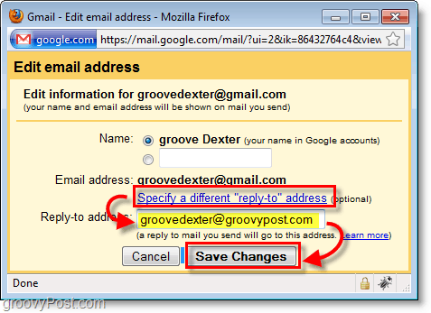 click specify different reply-to and then type in the reply email address you want.