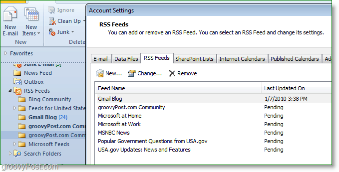 rss feeds will automatically be sync'd between Outlook 2007, or 2010 and Internet Explorer