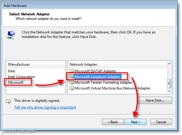 Windows 7 Networking Screenshot select microsoft > microsoft loopback adapter