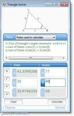 Microsoft Word Add-in Microsoft Math screenshot using triangle solver