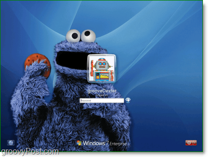 Windows 7 with my favorite sesame street Cookie Monster background