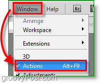 Photoshop Color Picker screenshot -open the actions window
