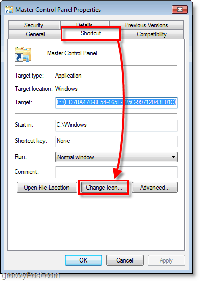 Windows 7 screenshot - how to change icon for a shortcut