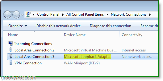 Windows 7 Networking Screenshot - the Microsoft Loopback adapter visible in the network connections window