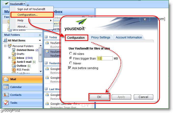 YouSendIt Configuration Menu