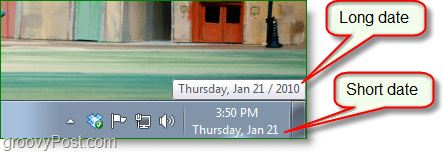 Windows 7 screenshot - long date vs. short date