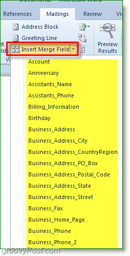 Outlook 2010 screenshot -insert more custom fields, optional though