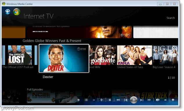 Windows 7 Media Center - dexter does not = grooveDexter